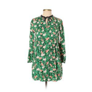Old Navy Green Floral Pintucked Swing Tunic Dress